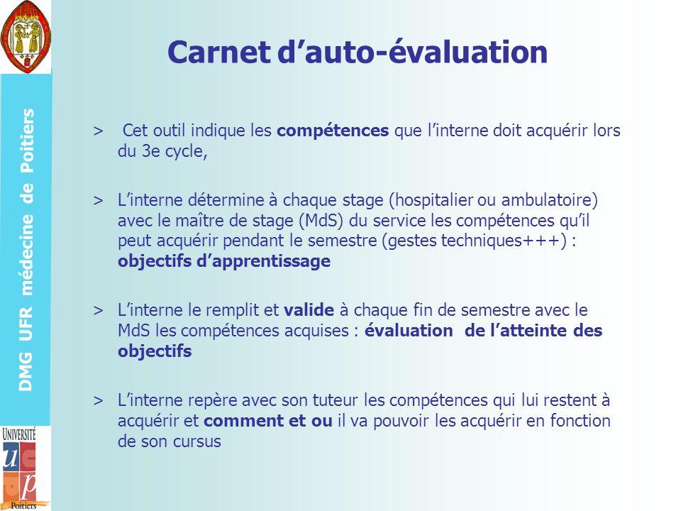 DMG UFR médecine de Poitiers Carnet dauto-évaluation > Cet outil indique les compétences que linterne doit acquérir lors du 3e cycle, >Linterne déterm