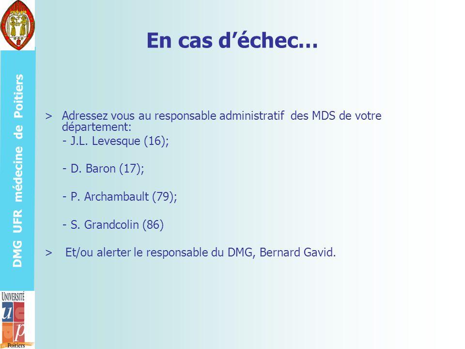 DMG UFR médecine de Poitiers En cas déchec… >Adressez vous au responsable administratif des MDS de votre département: - J.L. Levesque (16); - D. Baron