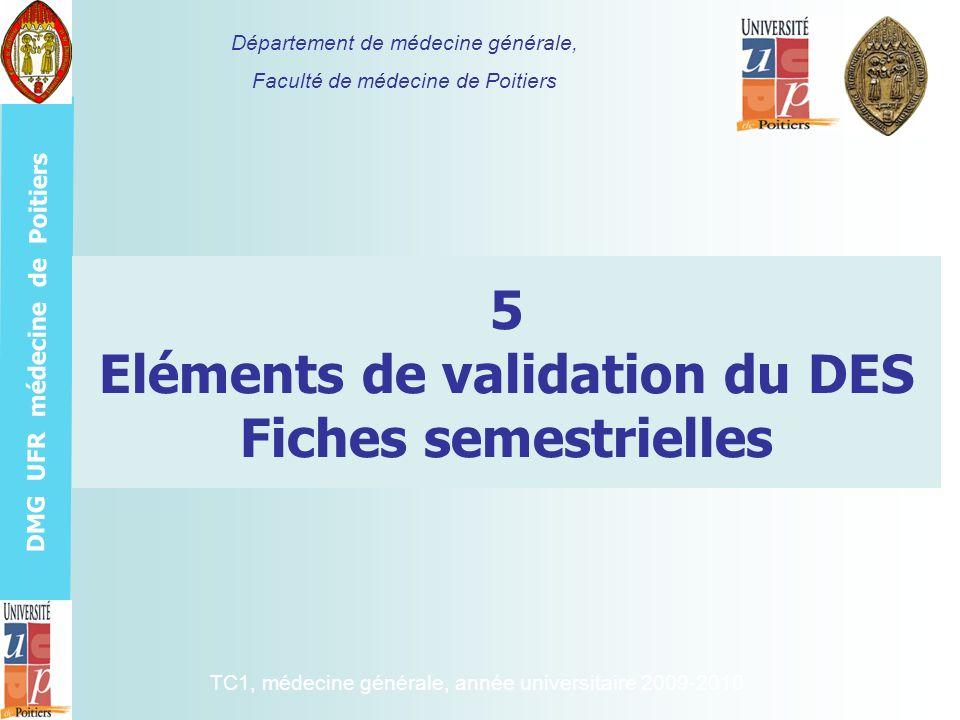 DMG UFR médecine de Poitiers 5 Eléments de validation du DES Fiches semestrielles Département de médecine générale, Faculté de médecine de Poitiers TC