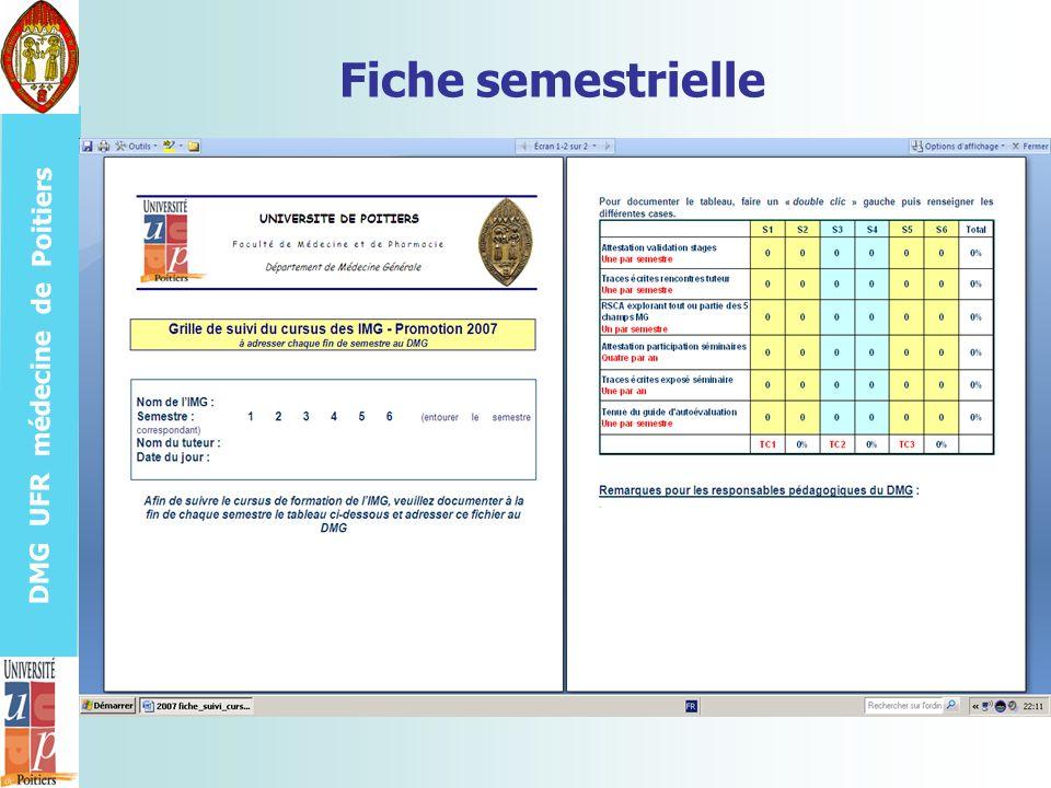DMG UFR médecine de Poitiers Fiche semestrielle