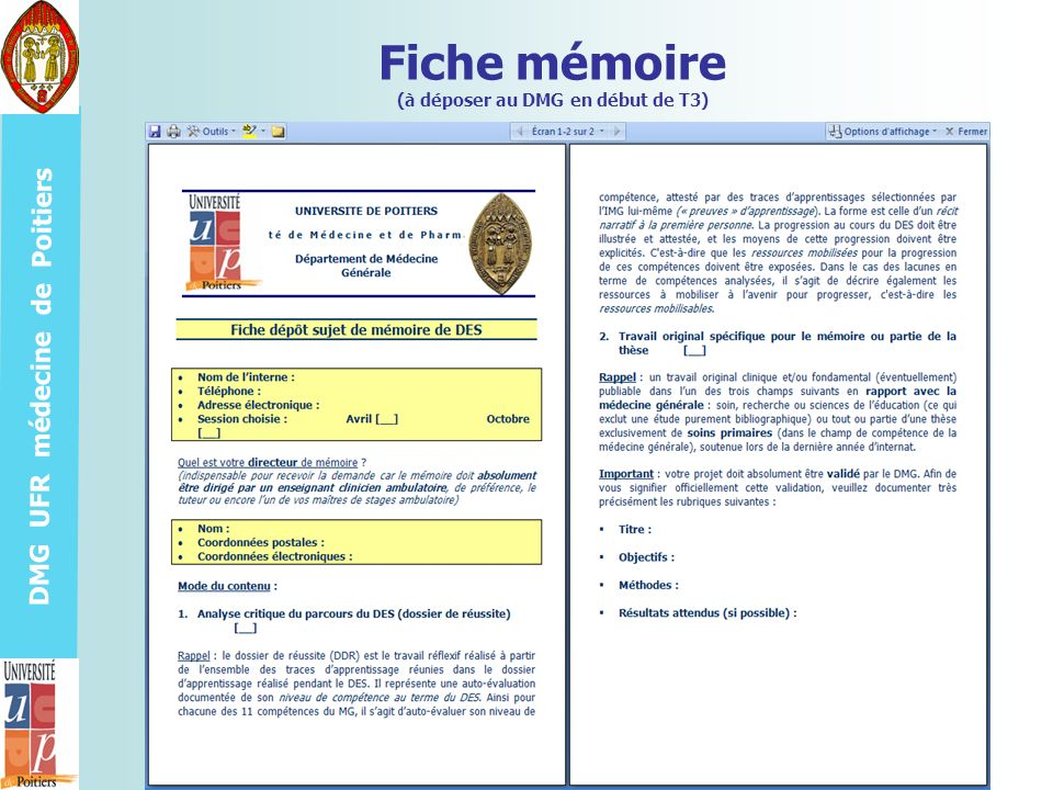 DMG UFR médecine de Poitiers Fiche mémoire (à déposer au DMG en début de T3)