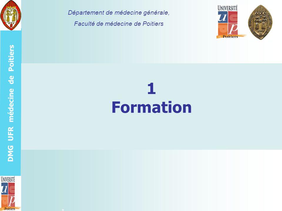 DMG UFR médecine de Poitiers Formation du tuteur >Formation pré-requise: 2 semestres de MG1 et S1S2, S3S4, S5S6 ou S7S8, P13P14 >Le minimum: connaître les 11 compétences génériques du médecin généraliste enseignées par le Département de médecine générale de Poitiers et le Cogems-PC, inspirées des conclusions de la Wonca 2002.