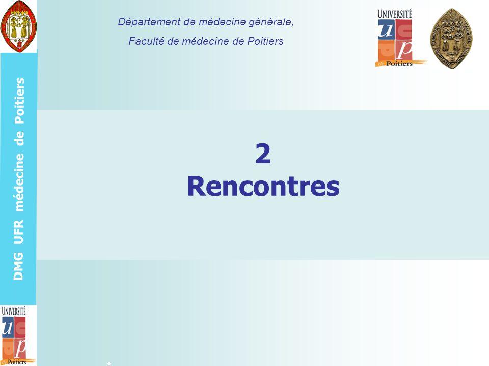 DMG UFR médecine de Poitiers Organiser les rencontres >Deux tutorés par promotion soit six tutorés par tuteur >Trois rencontres individuelles obligatoires avec chacun de ses tutorés (RIT) en janvier au S1, en octobre aux S2, S4 et une 4è facultative en février ou juin au S5 ou S6 selon la date de passation du mémoire (avril ou octobre) >Trois rencontres groupées obligatoires sous forme de groupe déchange et danalyse de pratique pour interne (GEAPIT) rassemblant 12 tutorés (4T1, 4T2, 4T3) et leurs deux tuteurs en avril aux S1, S3, S5 >Des objectifs propres à chaque type de rencontre