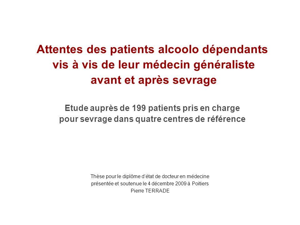 Attentes des patients alcoolo dépendants vis à vis de leur médecin généraliste avant et après sevrage Etude auprès de 199 patients pris en charge pour