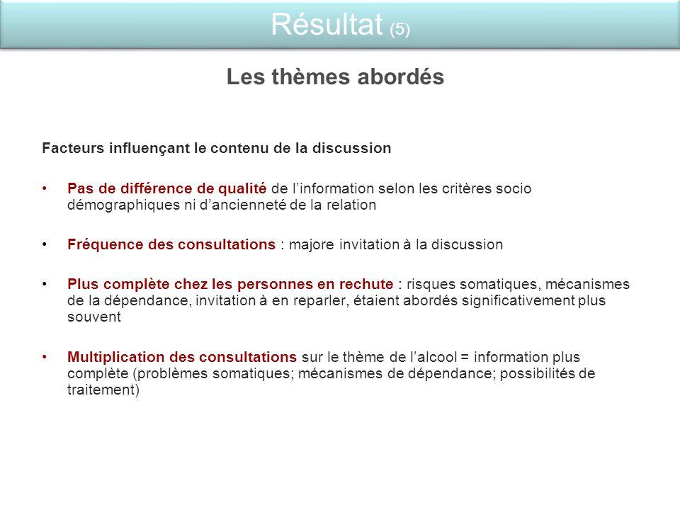 Les thèmes abordés Facteurs influençant le contenu de la discussion Pas de différence de qualité de linformation selon les critères socio démographiqu