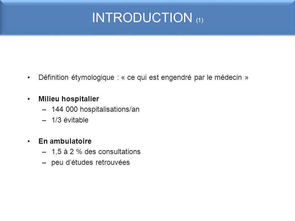 INTRODUCTION (1) Définition étymologique : « ce qui est engendré par le médecin » Milieu hospitalier –144 000 hospitalisations/an –1/3 évitable En amb