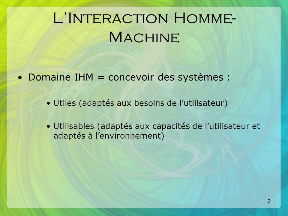2 LInteraction Homme- Machine Domaine IHM = concevoir des systèmes : Utiles (adaptés aux besoins de lutilisateur) Utilisables (adaptés aux capacités de lutilisateur et adaptés à lenvironnement)