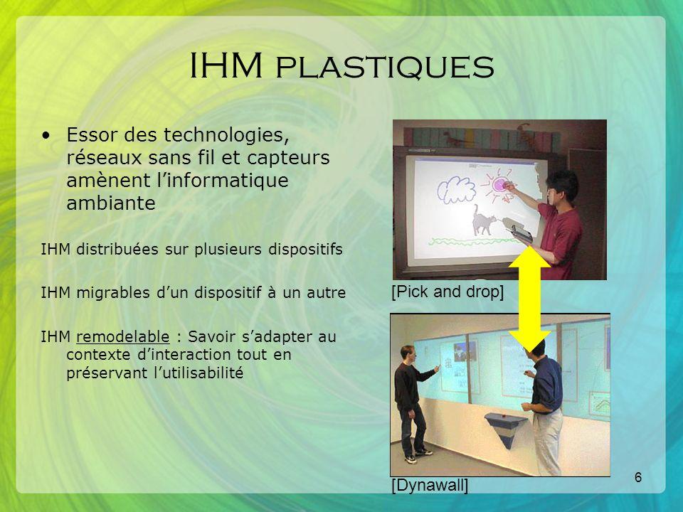 7 IHM plastiques Cette nouvelle vision engendre une infinité de configurations possibles Systèmes Ad hoc un problème -> une solution Infrastructures logicielles génériques solution pour tout lensemble des problèmes