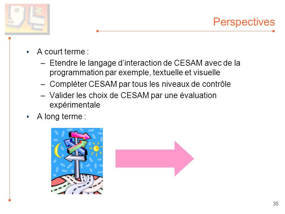 Perspectives A court terme : –Etendre le langage dinteraction de CESAM avec de la programmation par exemple, textuelle et visuelle –Compléter CESAM pa