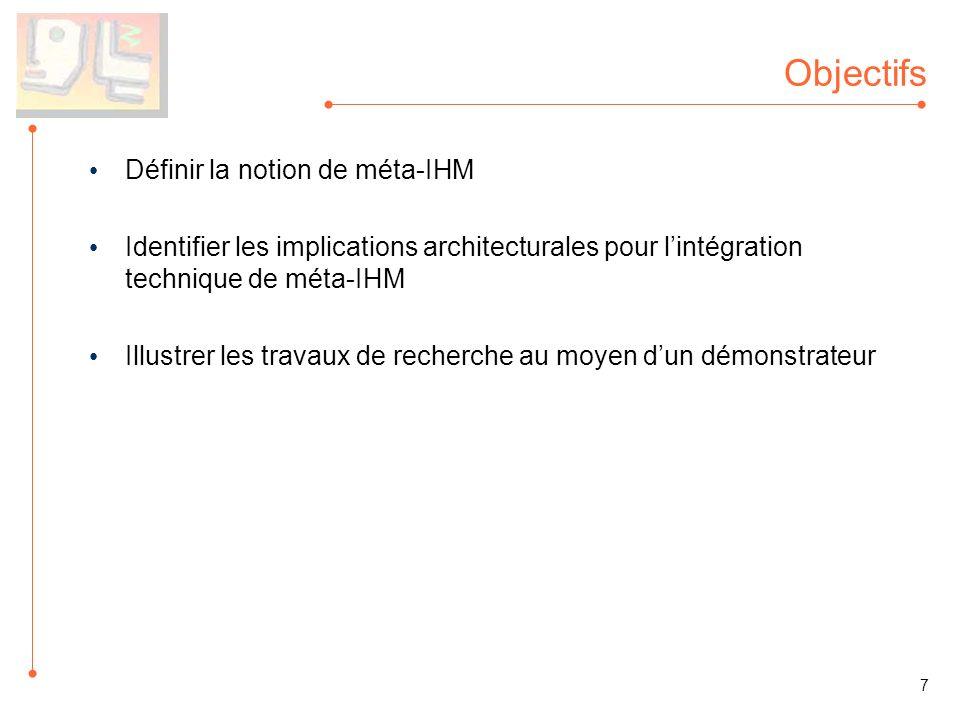 Objectifs Définir la notion de méta-IHM Identifier les implications architecturales pour lintégration technique de méta-IHM Illustrer les travaux de r