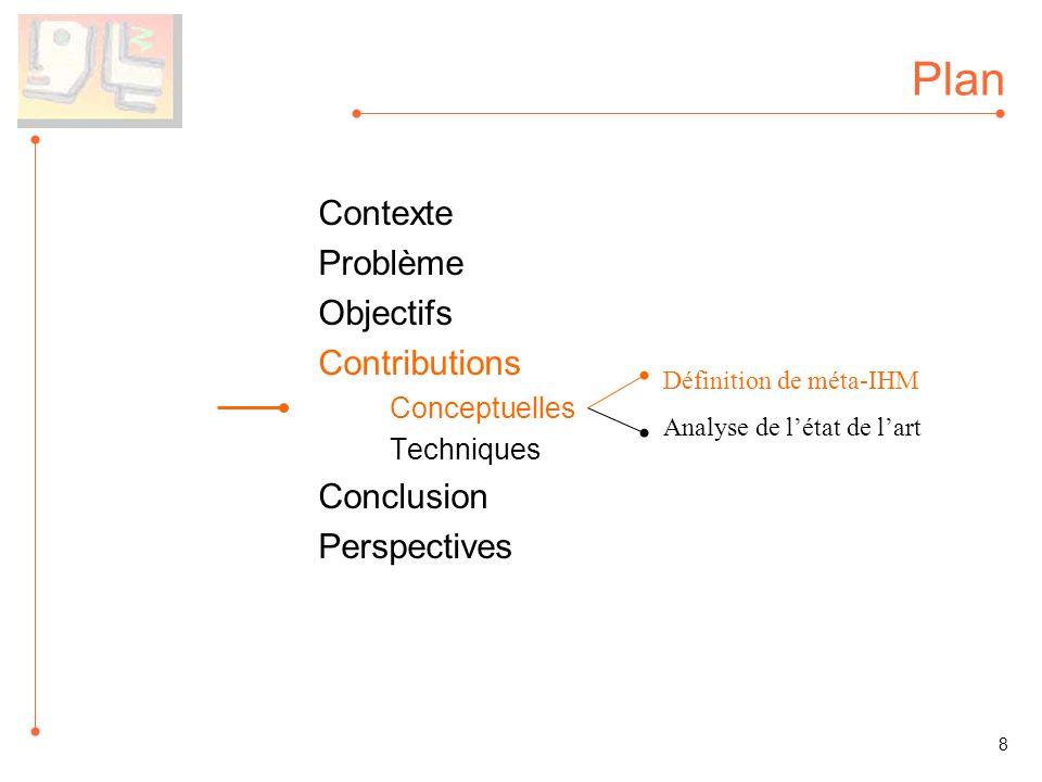 Plan Contexte Problème Objectifs Contributions Conceptuelles Techniques Conclusion Perspectives Définition de méta-IHM Analyse de létat de lart 8