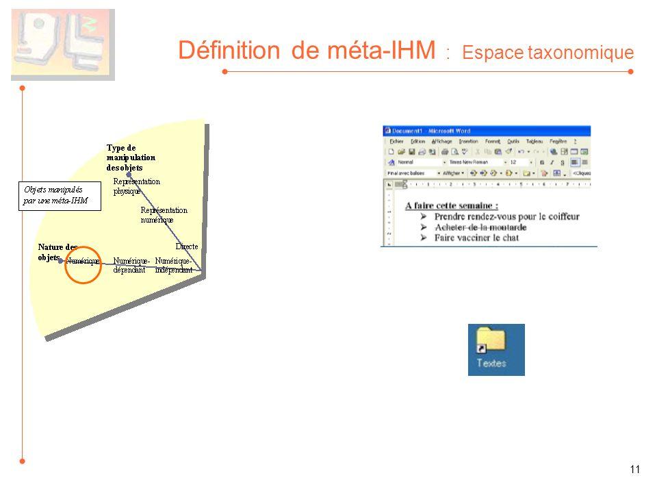 Définition de méta-IHM : Espace taxonomique 11