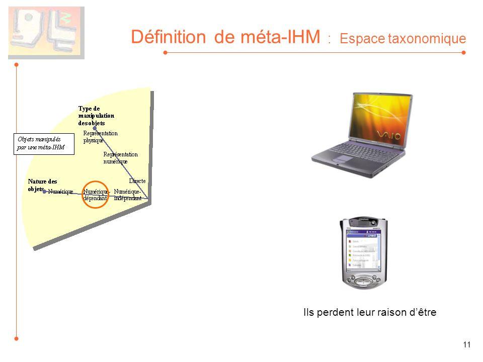 Définition de méta-IHM : Espace taxonomique Ils perdent leur raison dêtre 11