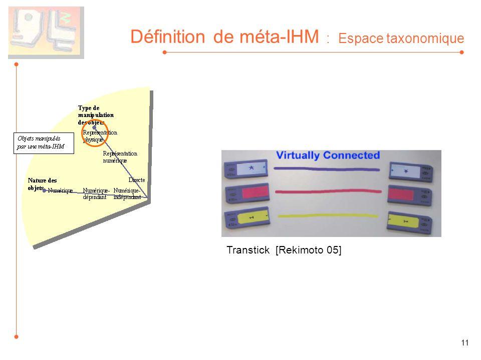Définition de méta-IHM : Espace taxonomique Transtick [Rekimoto 05] 11