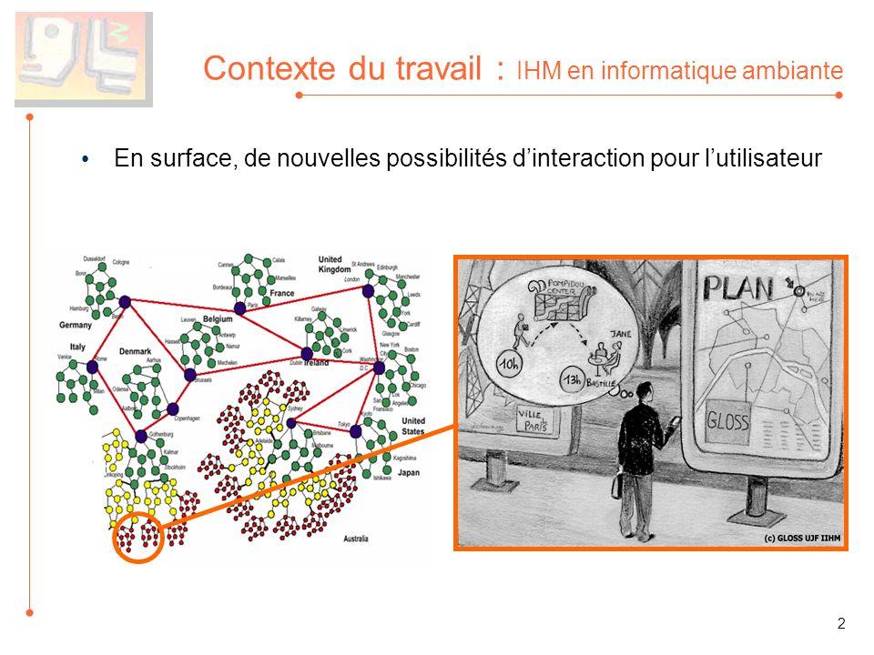 En surface, de nouvelles possibilités dinteraction pour lutilisateur Contexte du travail : IHM en informatique ambiante 2