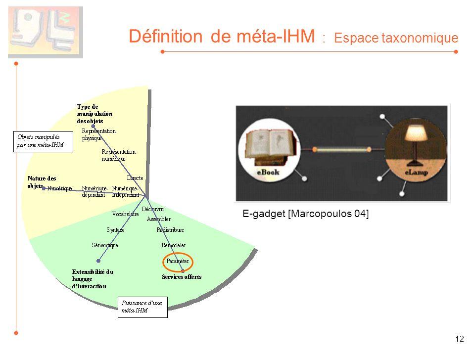 Définition de méta-IHM : Espace taxonomique E-gadget [Marcopoulos 04] 12