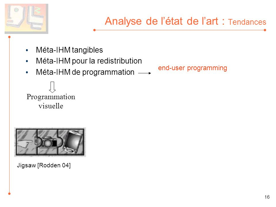 Analyse de létat de lart : Tendances Méta-IHM tangibles Méta-IHM pour la redistribution Méta-IHM de programmation Programmation visuelle end-user programming 16 Jigsaw [Rodden 04]