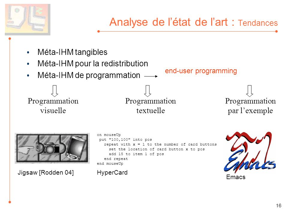 Analyse de létat de lart : Tendances Méta-IHM tangibles Méta-IHM pour la redistribution Méta-IHM de programmation Programmation visuelle Programmation textuelle Programmation par lexemple end-user programming on mouseUp put 100,100 into pos repeat with x = 1 to the number of card buttons set the location of card button x to pos add 15 to item 1 of pos end repeat end mouseUp Emacs 16 Jigsaw [Rodden 04]HyperCard