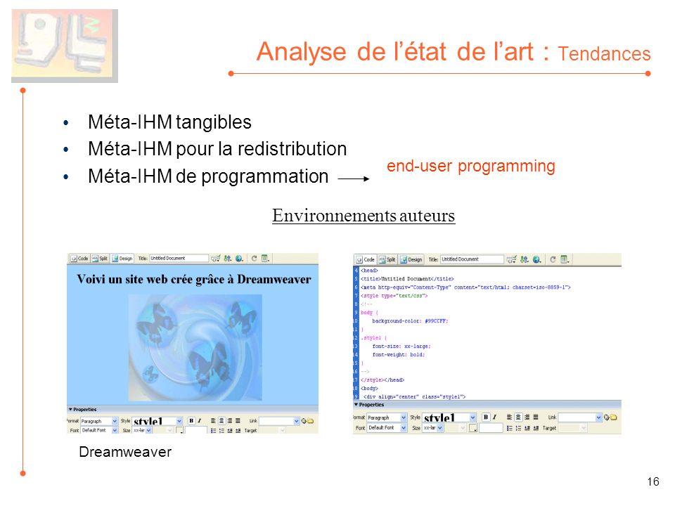 Analyse de létat de lart : Tendances Méta-IHM tangibles Méta-IHM pour la redistribution Méta-IHM de programmation end-user programming 16 Environnemen