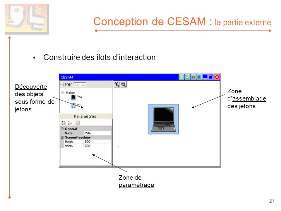 Conception de CESAM : la partie externe Construire des îlots dinteraction Découverte des objets sous forme de jetons Zone de paramétrage 21 Zone dassemblage des jetons