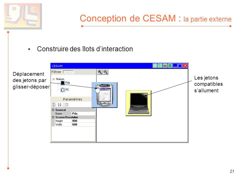 Conception de CESAM : la partie externe Construire des îlots dinteraction Déplacement des jetons par glisser-déposer Les jetons compatibles sallument 21