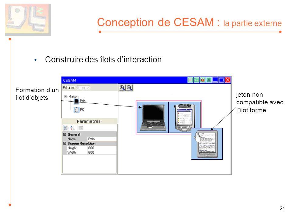 Conception de CESAM : la partie externe Construire des îlots dinteraction Formation dun îlot dobjets jeton non compatible avec lîlot formé 21