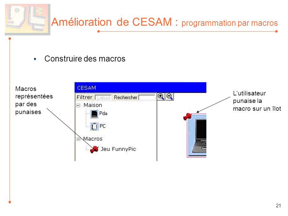 Amélioration de CESAM : programmation par macros Construire des macros Macros représentées par des punaises 21 Lutilisateur punaise la macro sur un îlot