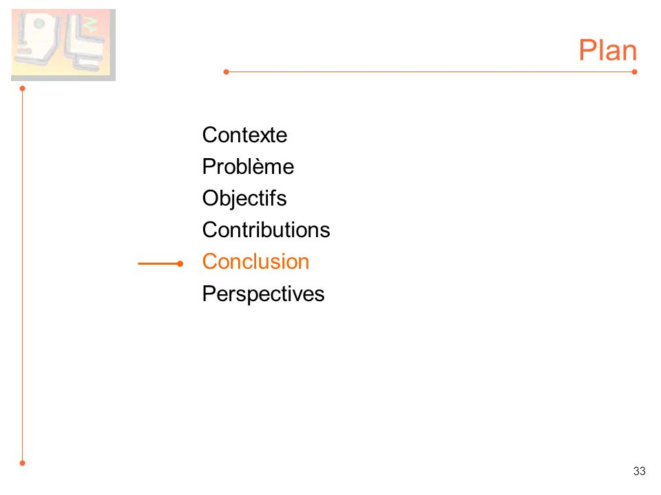 Plan Contexte Problème Objectifs Contributions Conclusion Perspectives 33