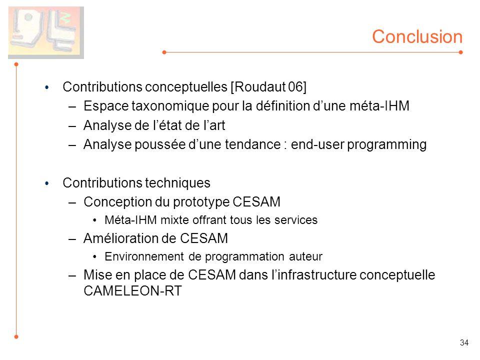 Conclusion Contributions conceptuelles [Roudaut 06] –Espace taxonomique pour la définition dune méta-IHM –Analyse de létat de lart –Analyse poussée du