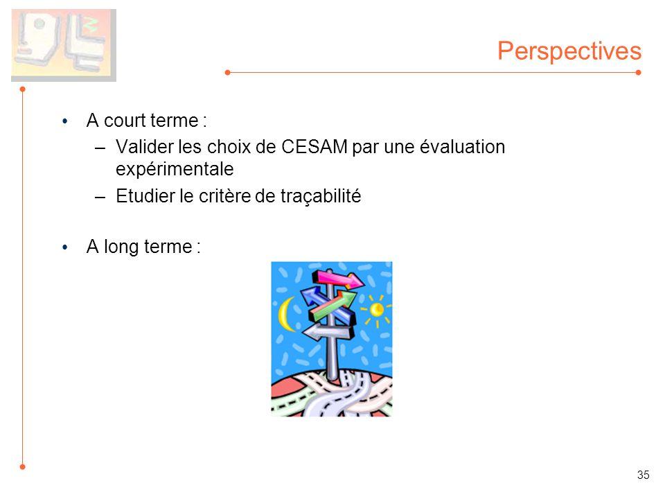 Perspectives A court terme : –Valider les choix de CESAM par une évaluation expérimentale –Etudier le critère de traçabilité A long terme : 35