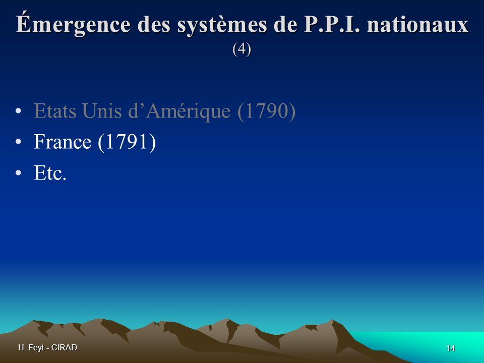 H. Feyt - CIRAD 14 Émergence des systèmes de P.P.I. nationaux (4) Etats Unis dAmérique (1790) France (1791) Etc.
