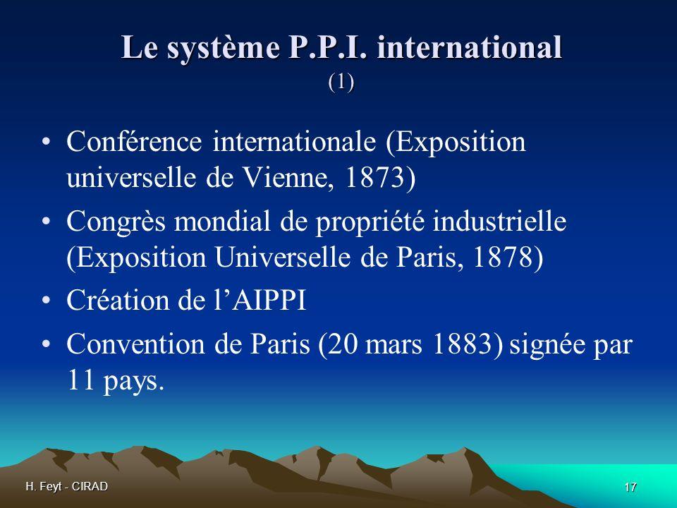 H. Feyt - CIRAD 17 Le système P.P.I. international (1) Conférence internationale (Exposition universelle de Vienne, 1873) Congrès mondial de propriété