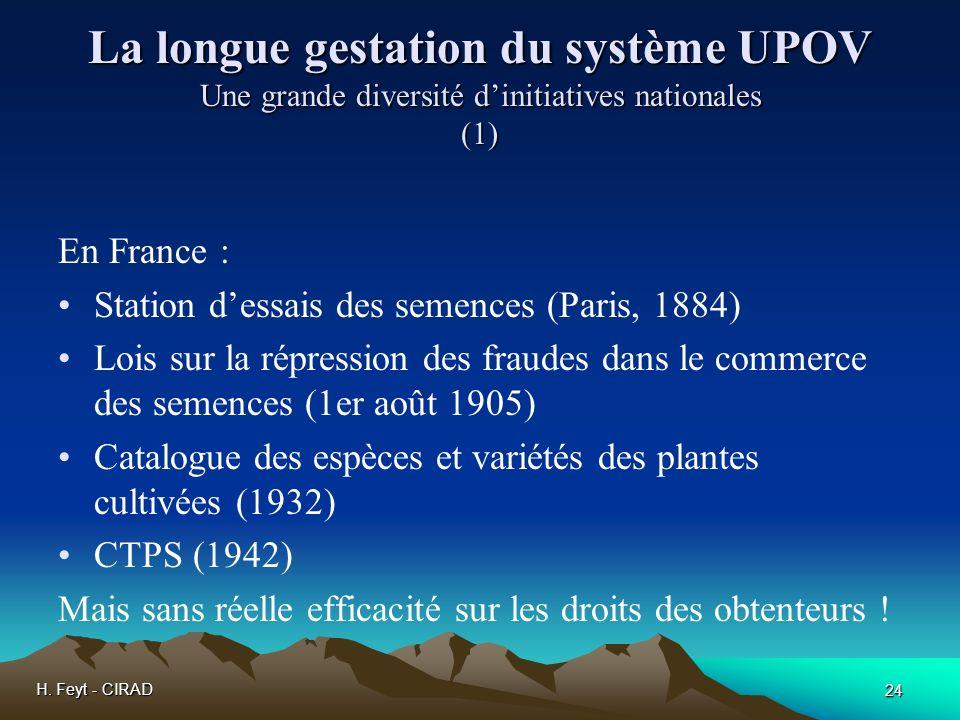 H. Feyt - CIRAD 24 La longue gestation du système UPOV Une grande diversité dinitiatives nationales (1) En France : Station dessais des semences (Pari