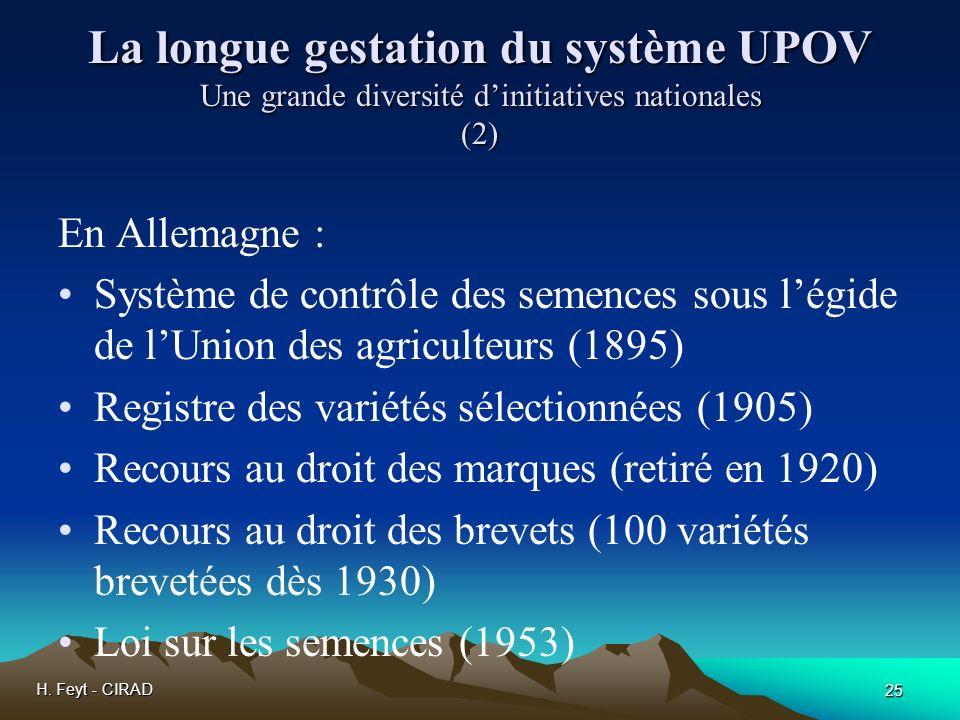 H. Feyt - CIRAD 25 La longue gestation du système UPOV Une grande diversité dinitiatives nationales (2) En Allemagne : Système de contrôle des semence