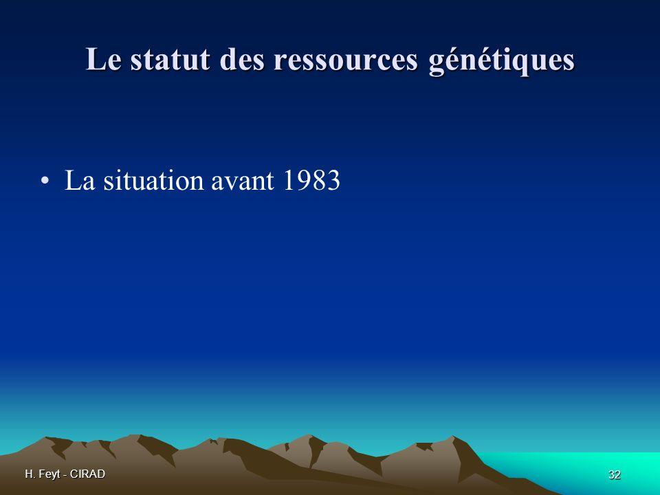 H. Feyt - CIRAD 32 Le statut des ressources génétiques La situation avant 1983