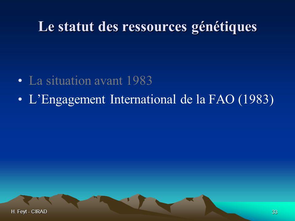 H. Feyt - CIRAD 33 Le statut des ressources génétiques La situation avant 1983 LEngagement International de la FAO (1983)