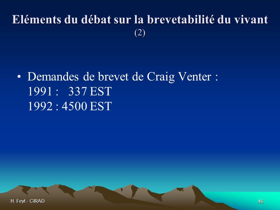 H. Feyt - CIRAD 46 Eléments du débat sur la brevetabilité du vivant (2) Demandes de brevet de Craig Venter : 1991 : 337 EST 1992 : 4500 EST