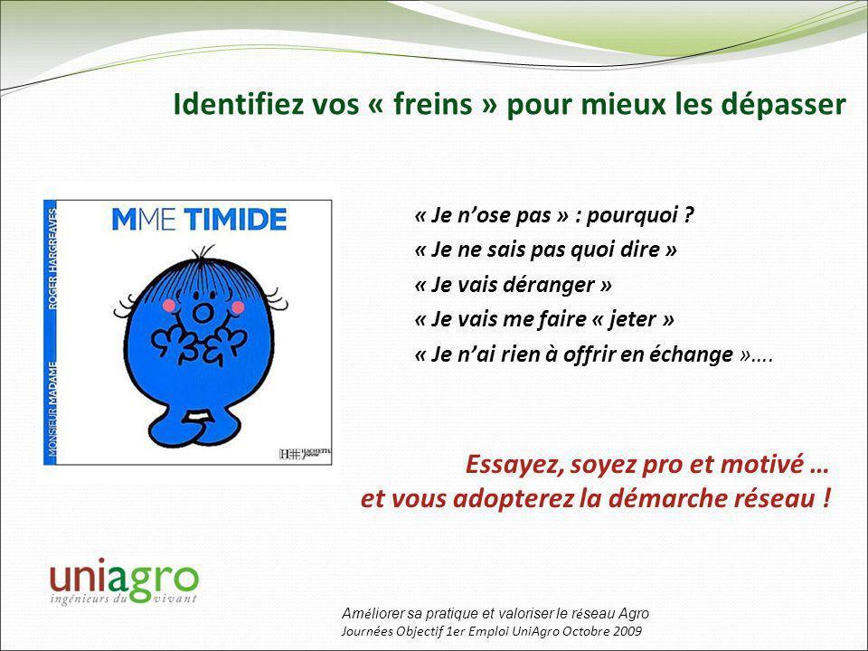 Am é liorer sa pratique et valoriser le r é seau Agro Journées Objectif 1er Emploi UniAgro Octobre 2009 Identifiez vos « freins » pour mieux les dépasser « Je nose pas » : pourquoi .