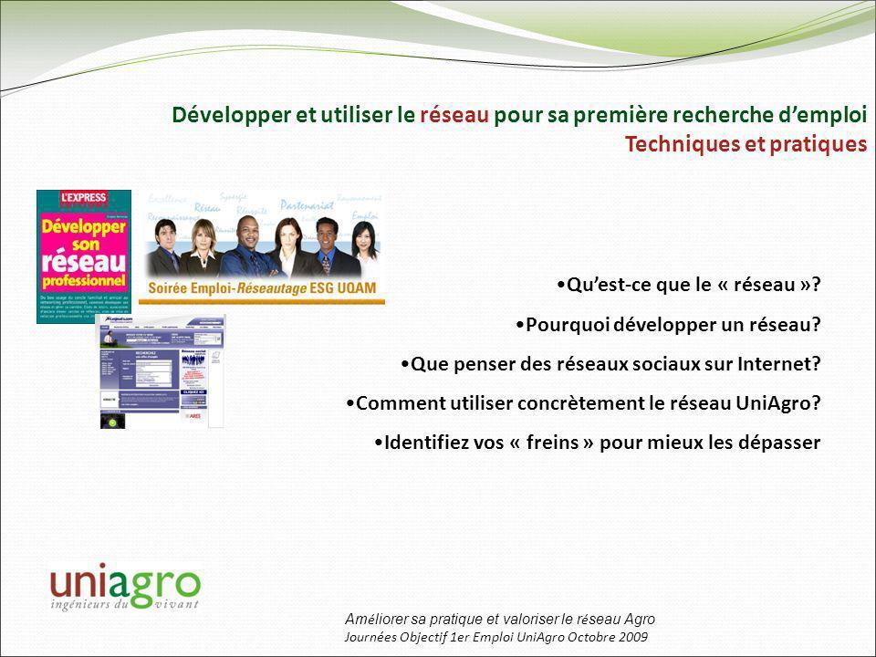 Am é liorer sa pratique et valoriser le r é seau Agro Journées Objectif 1er Emploi UniAgro Octobre 2009 Développer et utiliser le réseau pour sa première recherche demploi Techniques et pratiques Quest-ce que le « réseau ».