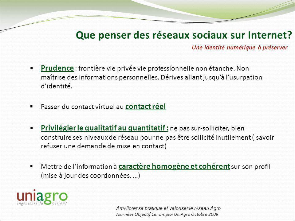 Am é liorer sa pratique et valoriser le r é seau Agro Journées Objectif 1er Emploi UniAgro Octobre 2009 Que penser des réseaux sociaux sur Internet.