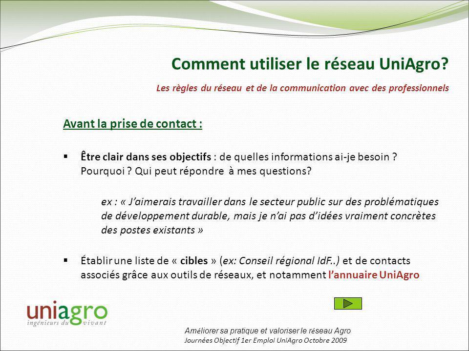 Am é liorer sa pratique et valoriser le r é seau Agro Journées Objectif 1er Emploi UniAgro Octobre 2009 Avant la prise de contact : Être clair dans ses objectifs : de quelles informations ai-je besoin .