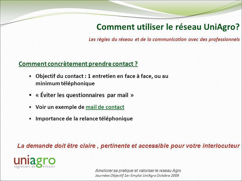 Am é liorer sa pratique et valoriser le r é seau Agro Journées Objectif 1er Emploi UniAgro Octobre 2009 Comment concrètement prendre contact .