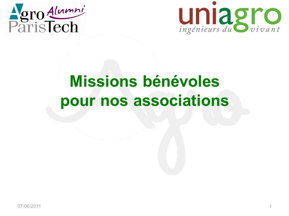Missions bénévoles pour nos associations 07/06/20111