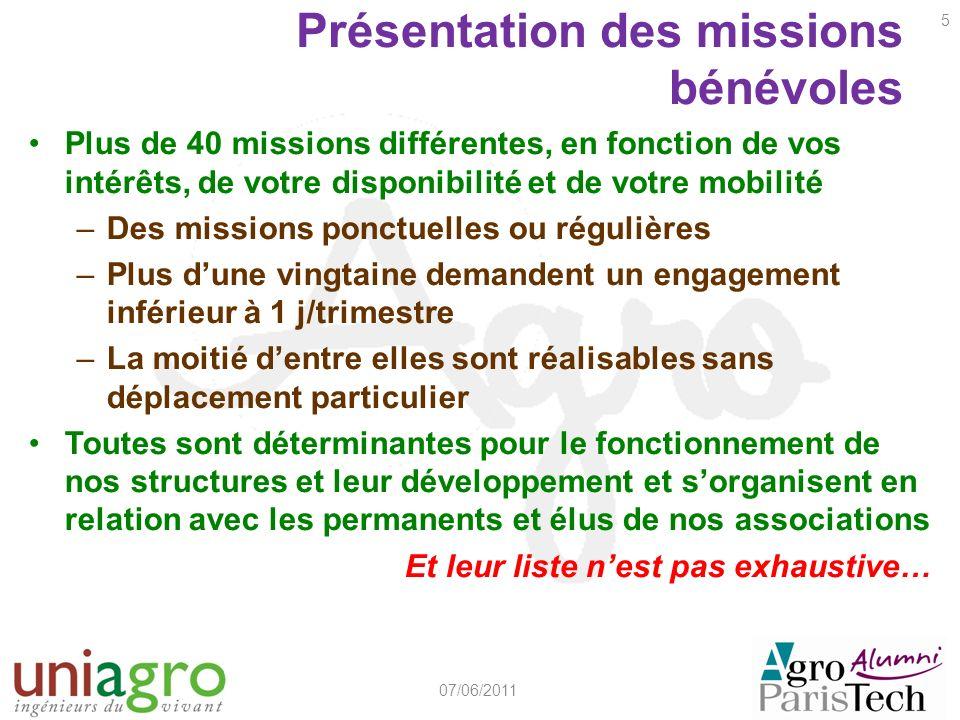 Présentation des missions bénévoles Plus de 40 missions différentes, en fonction de vos intérêts, de votre disponibilité et de votre mobilité –Des mis