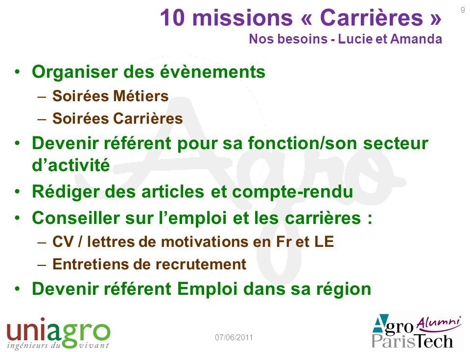 10 missions « Carrières » Nos besoins - Lucie et Amanda Organiser des évènements –Soirées Métiers –Soirées Carrières Devenir référent pour sa fonction
