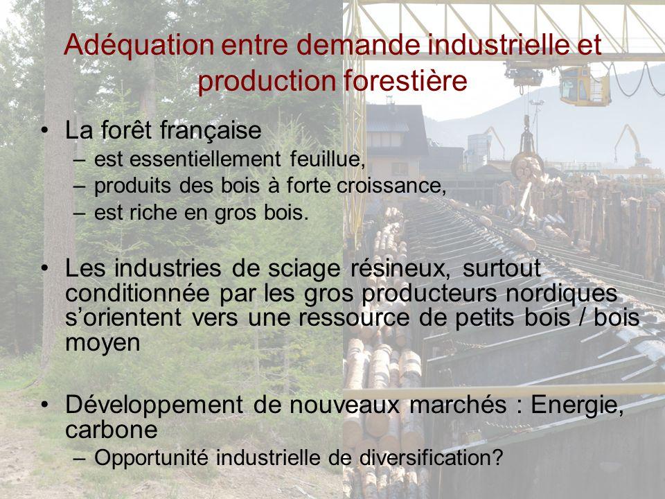Adéquation entre demande industrielle et production forestière La forêt française –est essentiellement feuillue, –produits des bois à forte croissance, –est riche en gros bois.