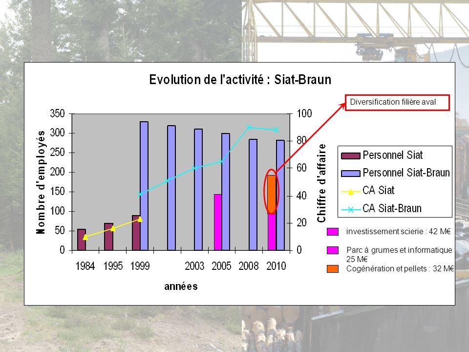 investissement scierie : 42 M Parc à grumes et informatique : 25 M Cogénération et pellets : 32 M Diversification filière aval
