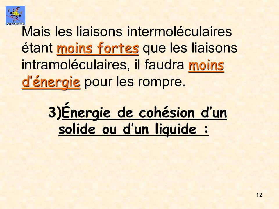 12 moins fortes moins dénergie Mais les liaisons intermoléculaires étant moins fortes que les liaisons intramoléculaires, il faudra moins dénergie pou