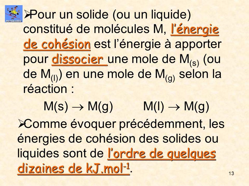 13 lénergie de cohésion dissocier Pour un solide (ou un liquide) constitué de molécules M, lénergie de cohésion est lénergie à apporter pour dissocier
