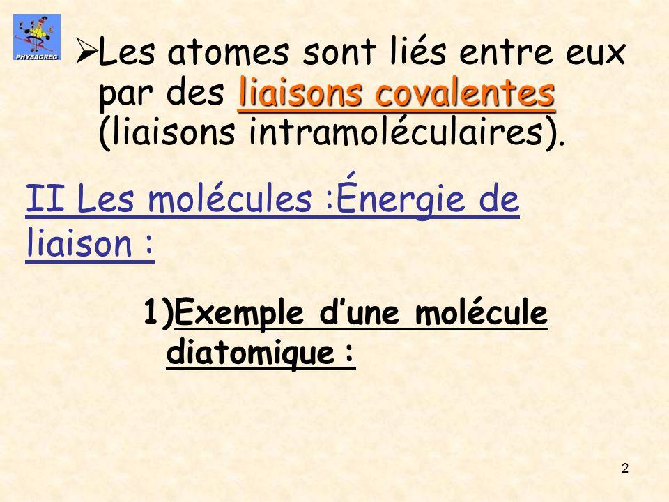 2 liaisons covalentes Les atomes sont liés entre eux par des liaisons covalentes (liaisons intramoléculaires). II Les molécules :Énergie de liaison :